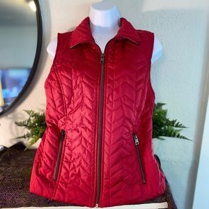 Christopher & Banks Red Quilted Vest ~ Women's S